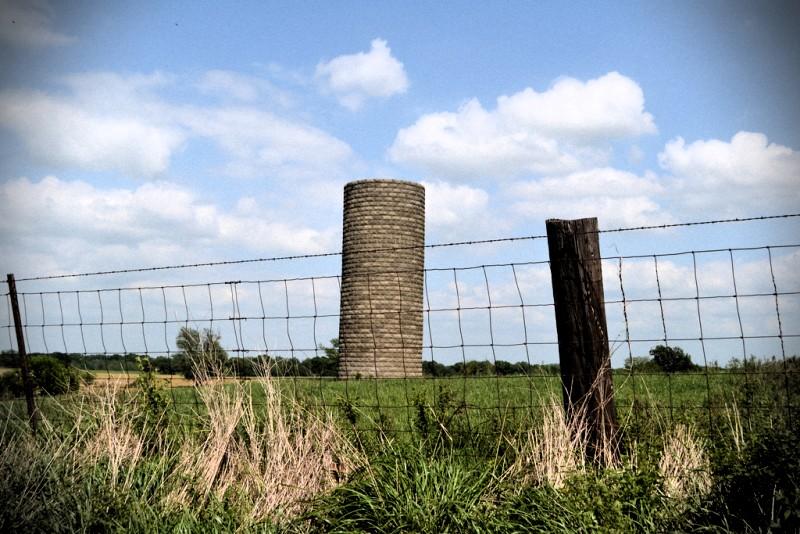 Grain silo in field